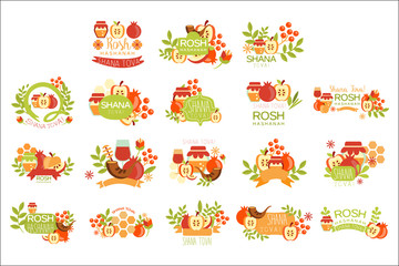 Rosh Hashanah Bright Postcard Labels Set Of Designs. Colorful Simple Holiday Logo Collection With Traditional Symbols
