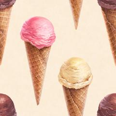Watercolor illustration of ice cream. Seamless pattern