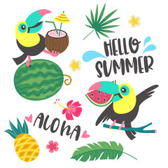 Hello summer. Aloha. Cute cheerful Toucan. Colorful vector illustration, emblem.