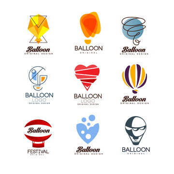 Balloon original design set, creative logo for corporate brand identity, summer holidays, festival, travel, tourism vector Illustrations
