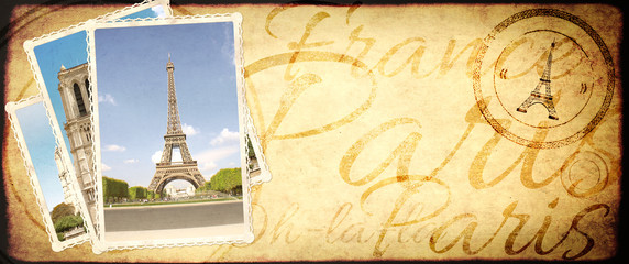 Vintage travel background with retro photos with landmarks of Paris