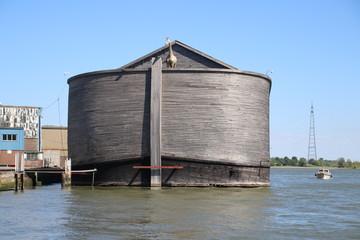 Wooden copy of Noah's Ark in the harbor of Krimpen aan den IJssel, heavy damaged by winterstorm.