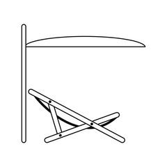 Icon of sea beach recliner with umbrella