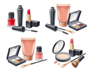 Illustrations of make up products. Hand drawn cosmetics set