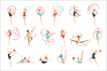 Rhythmic Gymnasts Training With Different Apparatus Set Of Flat Simplified Childish Style Cute Vector Illustrations Isolated