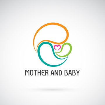 Vector icon of mother and baby design. Expression of love. Easy editable layered vector illustration.