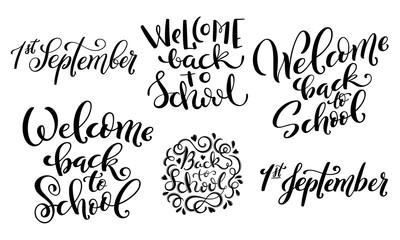 Welcome back to school handdrawn vector lettering