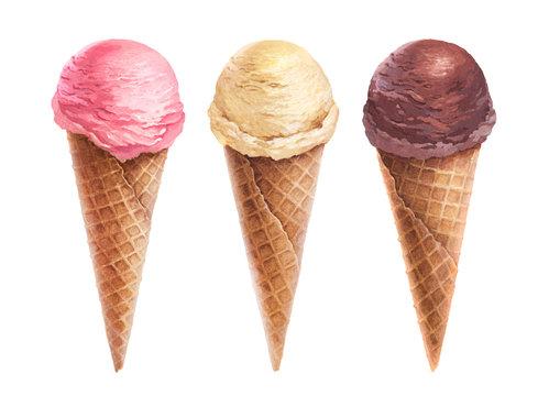 Watercolor illustration of ice cream