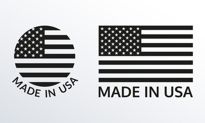 Made in USA logo or label set. US icon with American flag. Vector illustration. Fotomurales