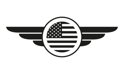 Wings badge with USA flag. Winged American flag template. Air force and aviation emblem. Vector illustration.