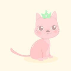 Cute pink little cat with green crown in yellow background. Pastel color concept. Cartoon vector illustration.