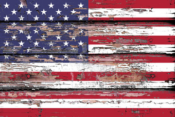 National flag of  USA on a dull wooden background