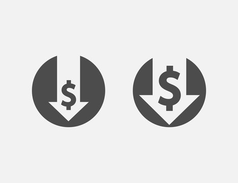 Cost reduction icon isolated on white background. Vector illustration.