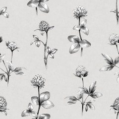 Drawings of clover flowers. Seamless pattern