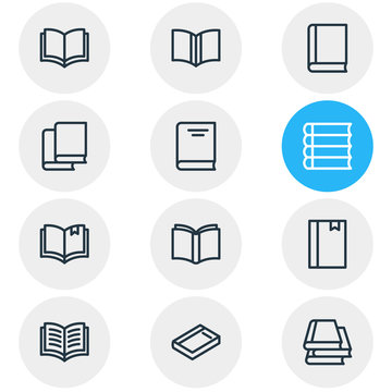 Vector illustration of 12 book reading icons line style. Editable set of bookstore, read, study and other icon elements.