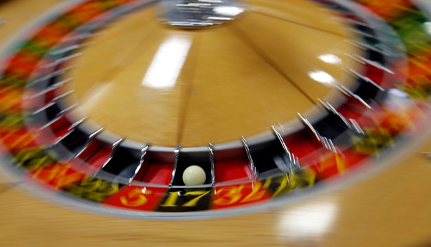 A ball is seen in the spinning wheel on a roulette table at Japan Casino School in Tokyo