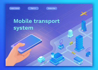 Mobile transportation online service landing page template, travel booking app concept with 3d isometric vector flat icons of smartphone, airplane, bus, electric scooter, girl searching in internet