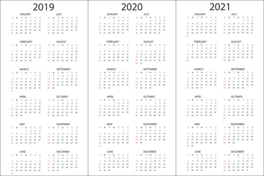 Set of Calendars 2019, 2020, 2021 years, simple design template, vertical format, week starts on Sunday