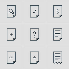 Vector illustration of 9 file icons line style. Editable set of add, correct, file and other icon elements.