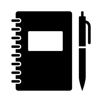 Note taking notebook or diary / journal with pen for writing flat vector icon for education apps and websites