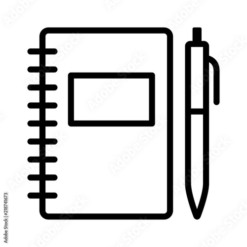 Note taking notebook or diary / journal with pen for writing line