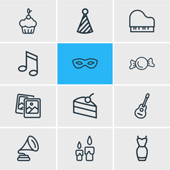 Vector illustration of 12 celebration icons line style. Editable set of clown cap, piece of cake, polaroid pics and other icon elements.