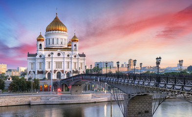 Sunset view of Cathedral of Christ the Savior and Moscow river in Moscow, Russia.