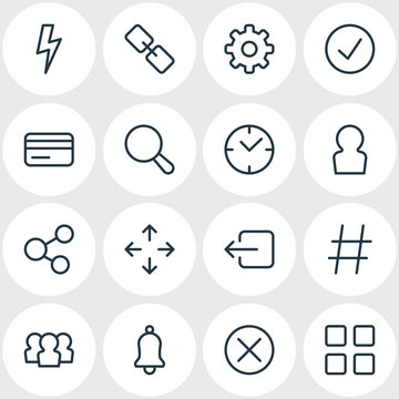 Vector illustration of 16 application icons line style. Editable set of cog, credit card, bell and other icon elements.