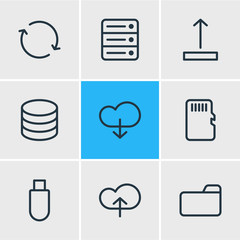 Vector illustration of 9 storage icons line style. Editable set of folder, server, cloud and other icon elements.