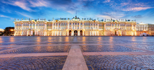 Winter Palace, house of the Hermitage Museum, iconic landmark in St. Petersburg, Russia