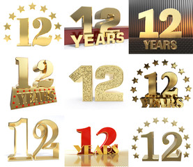 Set of number twelve year (12 year) celebration design. Anniversary golden number template elements for your birthday party. 3D illustration.