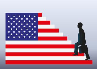 élection, américaine, états-Unis, ascension, président, drapeau, présidence, pouvoir, sondage
