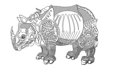 Rhinoceros in armor. Vector black and white illustration of a ritual combat rhino.