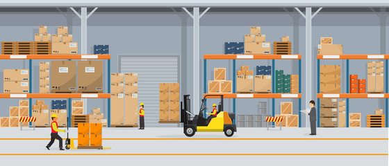 Warehouse Interior with Boxes On Rack And People Working. Flat vector and solid color style Logistic Delivery Service Concept illustration. Wall mural