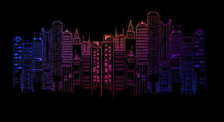 Night city neon light, drawing