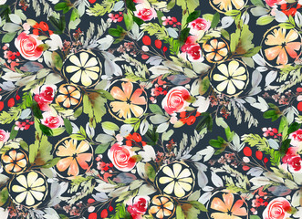 Seamless watercolor pattern with roses berries and lemons