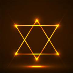 Star of David. Abstract symbol of glowing lines
