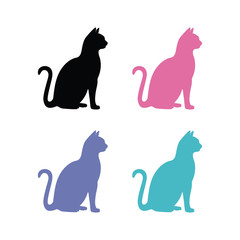 vector silhouettes of cats on white background