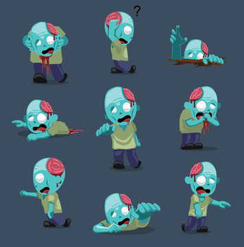 Halloween Character Big Head Poses Zombie