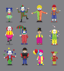 Clown Joker Harlequin Jester Circus Cute Cartoon Characters