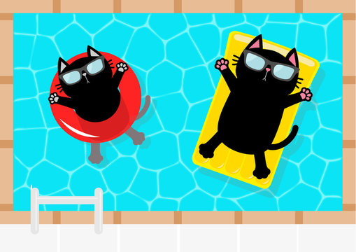 Swimming pool. Black cat floating on yellow pool float water mattress and red circle. Top air view. Sunglasses. Lifebuoy. Hello Summer. Cute cartoon character. Flat design.