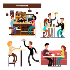 Cafe, coffee shop, restaurant with drinking coffee people vector