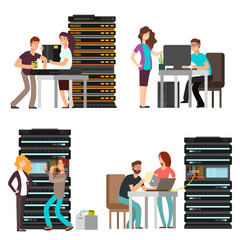 Man and woman engineers, technician working in server room