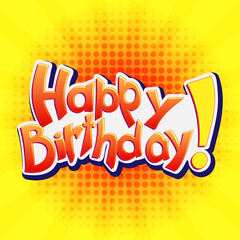 Happy Birthday! Vector lettering illustration on yellow background