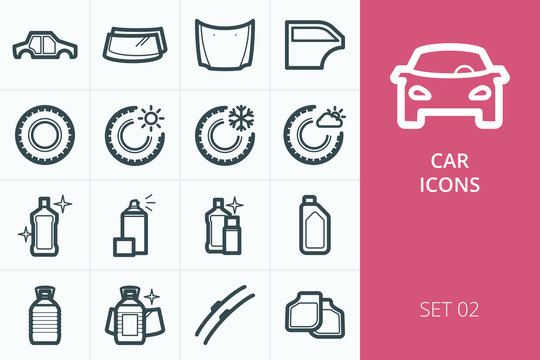 Car parts icon set. Set of tires, car fluids, body parts, auto glass, car mats  isolated vector icons