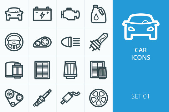 Car icons set. Set of oil filters, air filter, motor oil, lamps and lights, engine