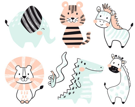 Crocodile, elephant, tiger, zebra, lion, giraffe, snake baby cute print set.
