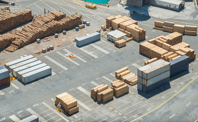 Industrial container yard for Import and Export for business in Napier port, New Zealand.