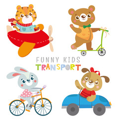 Set with funny animals. Collection kids transport.Dog, tiger, rabbit, bear. Vector illustration on white background