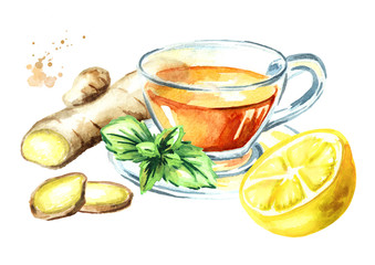 Cup of hot tea with ginger, lemon and mint, isolated on a white background